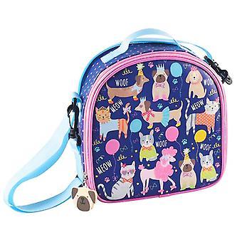 Barnens blå hus djur isolerad lunch väska