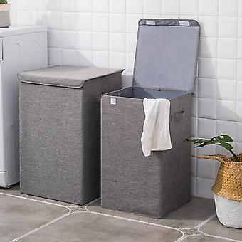 Cotton Laundry Basket With Cover Bathroom Kitchen Storage Home Collapsible