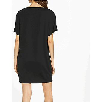 Meraki Women's Loose Fit Short Sleeve Shift Dress with Pockets, Black, EU M (US 8)