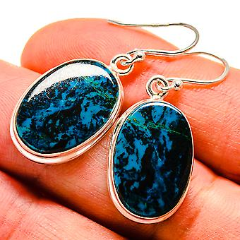 "Shattuckite Earrings 1 1/2"" (925 Sterling Silver)  - Handmade Boho Vintage Jewelry EARR408880"