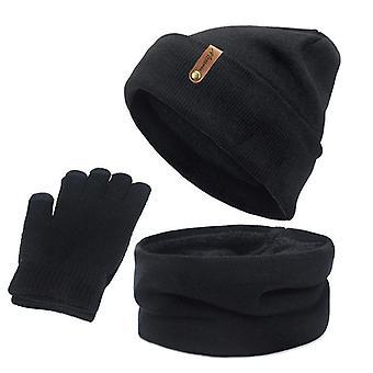 Gestrickte Schal Handschuhe, Hut Set, weibliche Kreis Hals, Bildschirm Touch Finger, warm