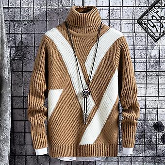 Winter Thick Warm Sweaters, Men Turtleneck Casual Patchwork Christmas Sweater,