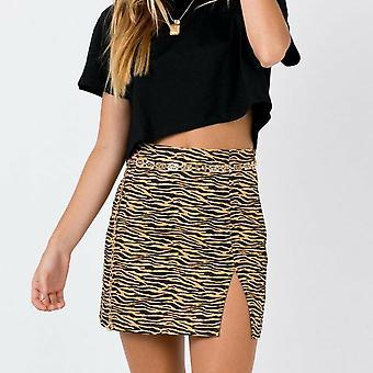 Kobiety Mini Spódnica Wysoka talia Leopard Zebra Print Party Clubwear Casual Krótki