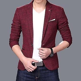 Men Slim Autumn Suit, Blazer Formal, Business Male One Button Lapel Casual Long