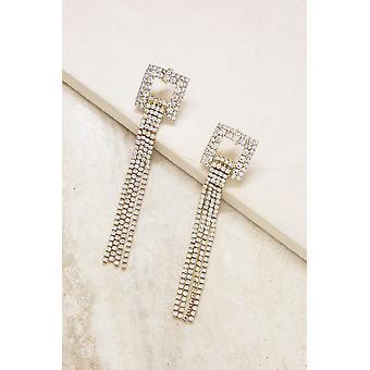 Square Crystal Fringe Dangle- 18k Gold Plated Earrings
