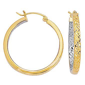 10 قطع الماس الأبيض والأصفر لهجة ك 2 الملمس جولة هوب أقراط، قطرها 25 مم