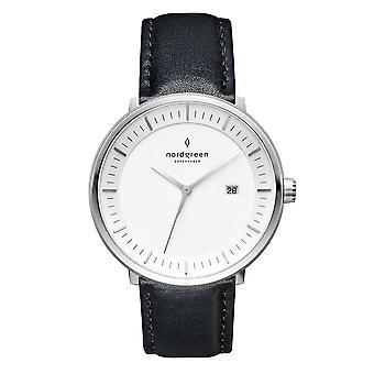 Nordgreen Unisex Philosopher Leather Silver 40mm Watch PH40SILEBLXX