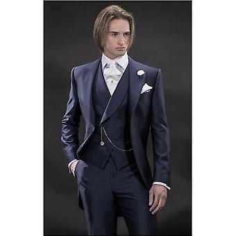 Peak Lapel Groomsmen Men's Dinner Prom Suit