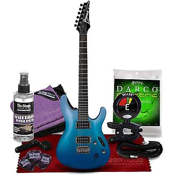 Ibanez serie s521 elgitarr, ocean blekna metallisk w / tuner, strängar, val, kabel, polering, polering tyg bunt