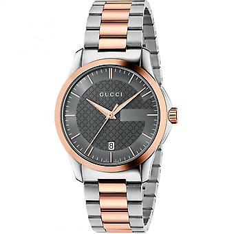 Gucci Ya126446 grijze wijzerplaat roestvrij staal riem horloge voor mannen