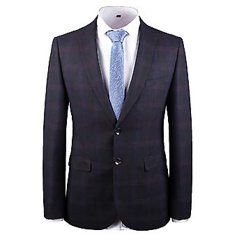 YANGFAN Men's Classic Plaid Blazer Two Button Single Breasted Notched Lapel Checked Suit Jacket