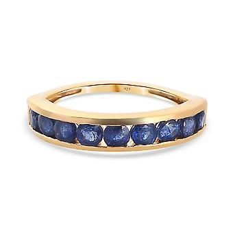 Fissure gefüllt blau Saphir halbe Ewigkeit Ring vergoldet Silber 22,95 ct