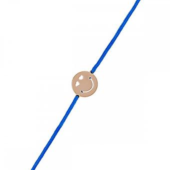 Smiley Vermeil Rose cord bracelet and blue cord 'apos;Love';