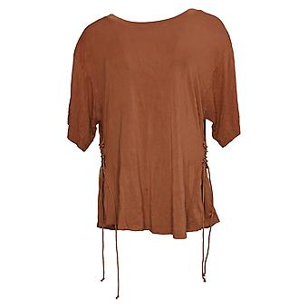 Lisa Rinna Collection Women's Top Short Sleeve Lace Up Side Brown A367992