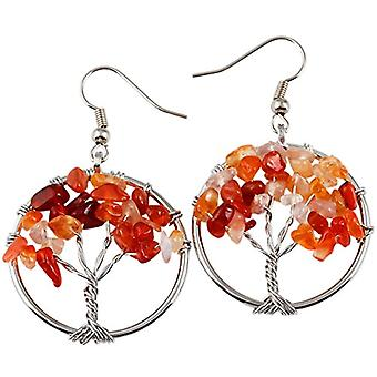 KYEYGWO - Women's earrings with tree of life, handmade, made of stone and crystal thread and Alloy, color: Carneliana Ref. 0635946999110