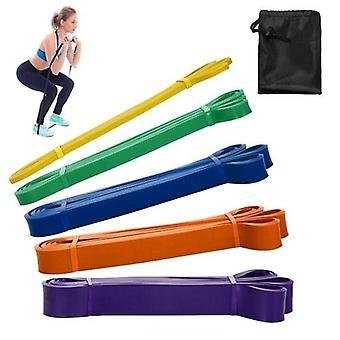 5レジスタンスループバンドのパックセットラテックスヨガ筋力トレーニングは、アシストバンドホームジムフィットネスワークアウト弾性運動バンドとキャリーバッグ