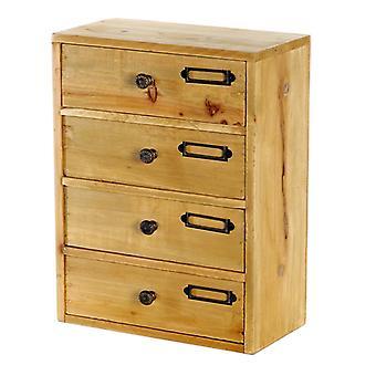 Höga 4 lådor träförvaring 23 x 13 x 34 cm