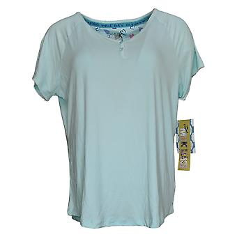 Muk Luks Women's Pajama Top Island Beauty Short Sleeve Henley Blue A377829