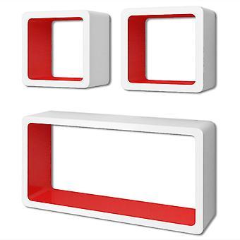 vidaXL Wandregale Regalwürfel 6 Stk. Weiß und Rot