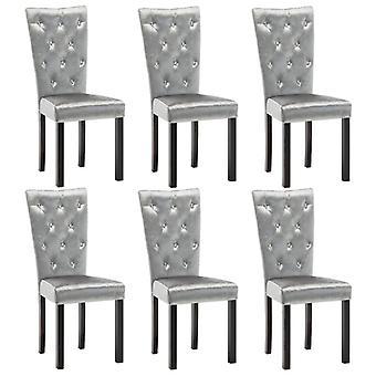 vidaXL sillas de comedor 6 piezas de terciopelo platas