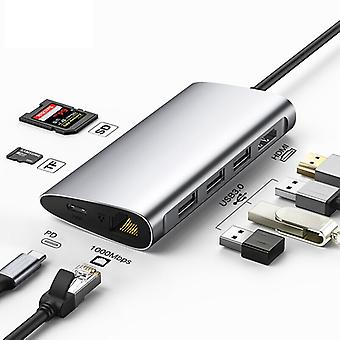 8in1 Type-c Hdmi Splitter Adapter Tf / Sd Pd 3usb3.0 Gigaweb Loading For Huawei P30 Macbook
