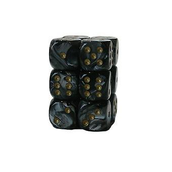 Chessex 16mm D6 Block of 12 - Lustrous Black/gold
