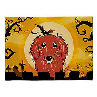 Caroline's Treasures BB1772PLMT Halloween Langhaar Rot Dackel Stoff Tischset, Multicolor