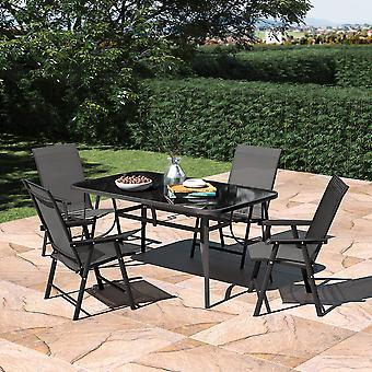 Ensemble de 5 jardin 150CM Rectangle Glass Umbrella Table et ensemble de chaises pliantes
