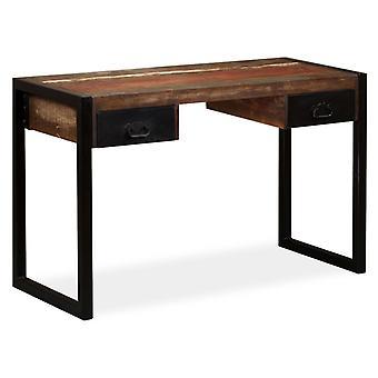 vidaXL skrivebord med 2 skuffer genvundet træ fast 120x50x76 cm