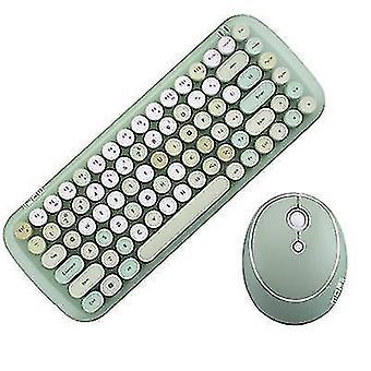 Kablosuz klavye ve fare seti, gökkuşağı tuş kapağı retro punk stili, bilgisayar dizüstü bilgisayarı için