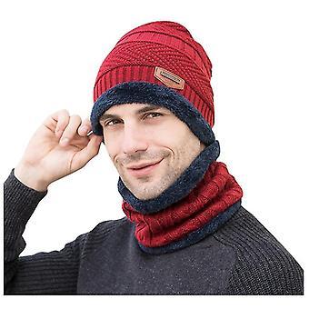 Herren Wintermütze, Kragen Set Plus Samt Dicke Strickmütze und Schalldämpfer (Rot)