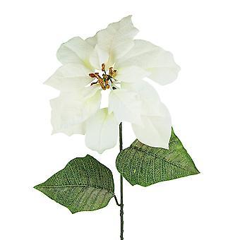 Tall 75cm Artificial White Velvet Christmas Poinsettia - Floristry Stem