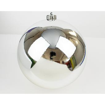 Silver 20cm Large Shatterproof Christmas Tree Bauble Decoration