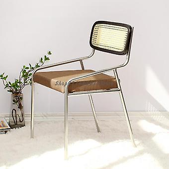 Simple Back Chair Nordic Solid Wood Rattan Ins With Armchair Home Retro Woven