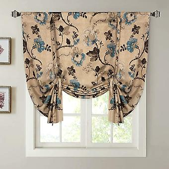 Blockout window drapes adjustable tie up shade rod pocket curtain for kitchen-vintage floral in brown/blue