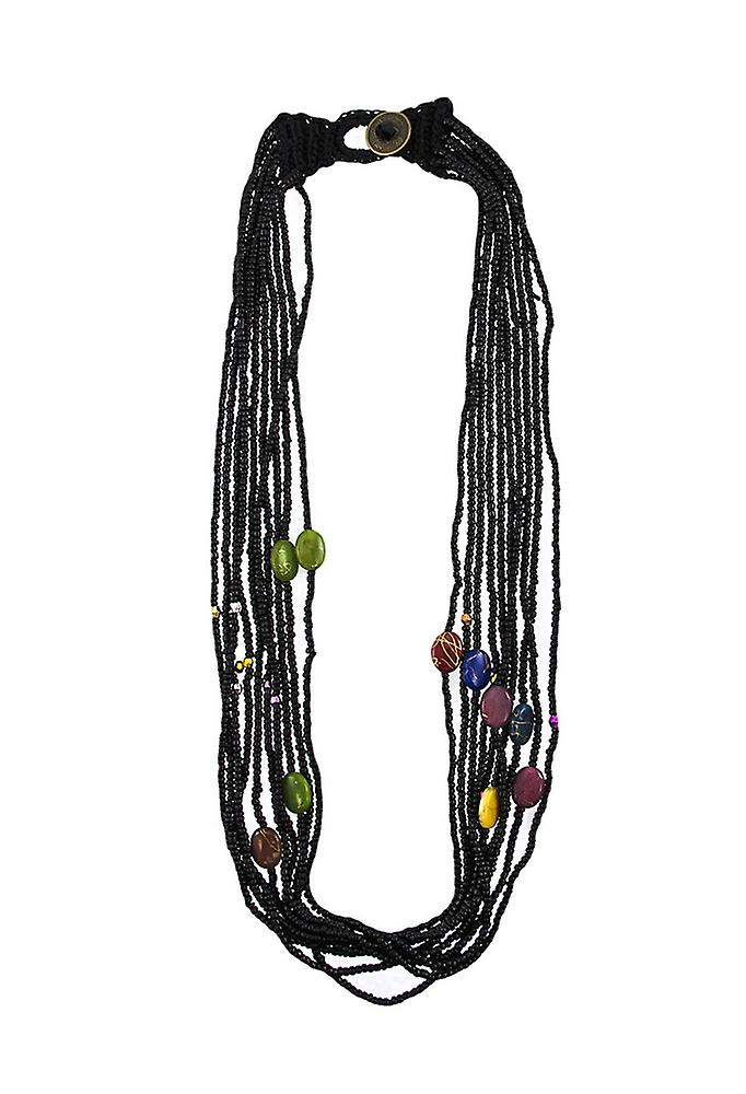 Zeckos Multi Strand Seed Bead Necklace Hand Painted Accents Purple ...