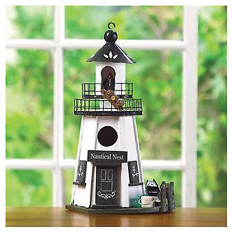 Songbird Valley Nautical Nest Wood Lighthouse Bird House, Pack of 1