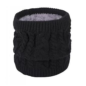 Neck gaiters warm scarf in winter, all-match knitted scarf for couples, pure color plus velvet scarf(black) #711