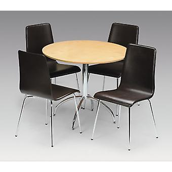 Mardy Dining Table & 4 Chairs Chrome Maple Veneer & Brown Leather