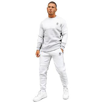 Gym King Minefield Contrast Panel Crew Neck Tracksuit Set - Snow Marl