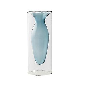 Vases nordic design creative double stained glass decor vases light blue