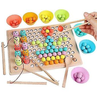 Interlocking blocks montessori sorting toy diy elimination bead board game color stacked match educational toys|