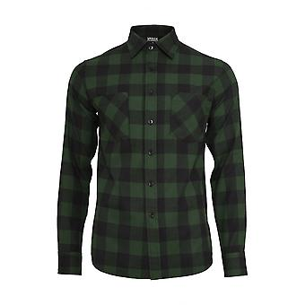 Urban Classics Forest Green Checked Flannel Shirt