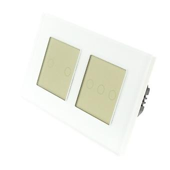 I LumoS White Glass Double Frame 5 Gang 1 Way Remote Touch LED Light Switch Gold Insert
