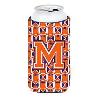Letter M Football Orange, White and Regalia Tall Boy Beverage Insulator Hugger