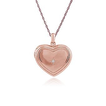 Rose Gold Plated Sterling Silver 1pt Diamond Heart 45cm Locket Necklace