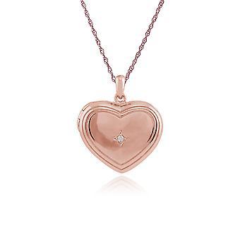 Or rose plaqué argent Sterling 1pt diamant coeur collier 45cm