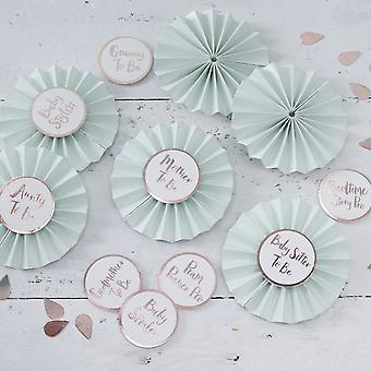 Baby Shower Badges in Mint and Rose Gold - Hello World - 6 Badges