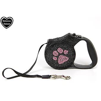 Valentina Valentti Crystallized Retractable Dog Leads, Pink Paw Leash, 5m
