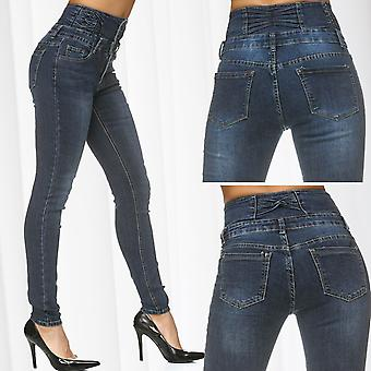 Ladies Denim Pants High Waist Jeans Used Trousers Shape Effect Forming